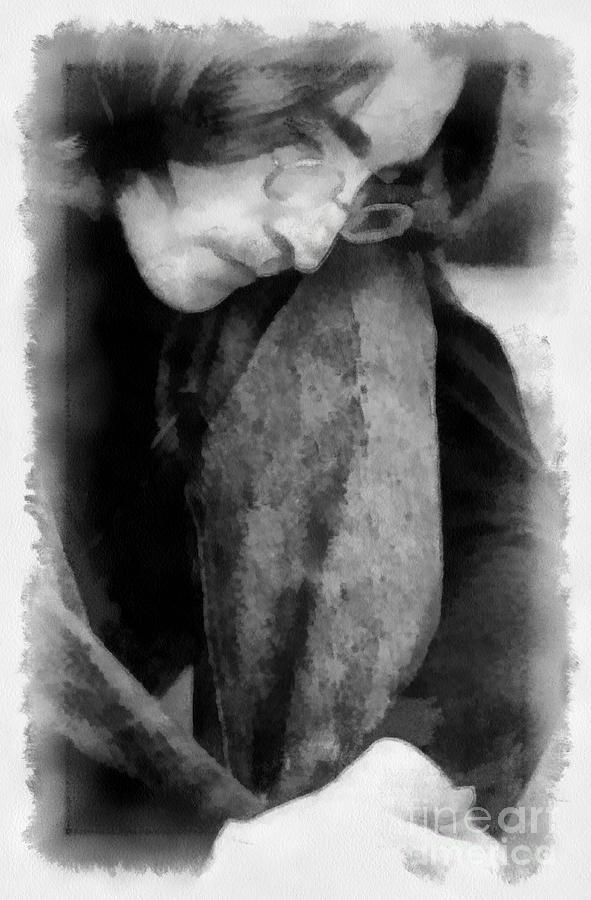 The Beatles Digital Art - Contemplative John by Paulette B Wright