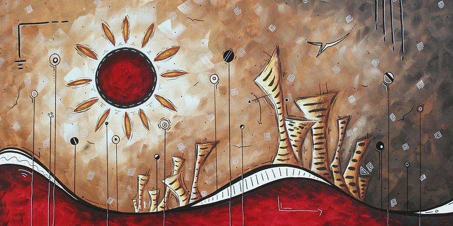 Contemporary abstract art cityscape original city painting for Contemporary art paintings for sale
