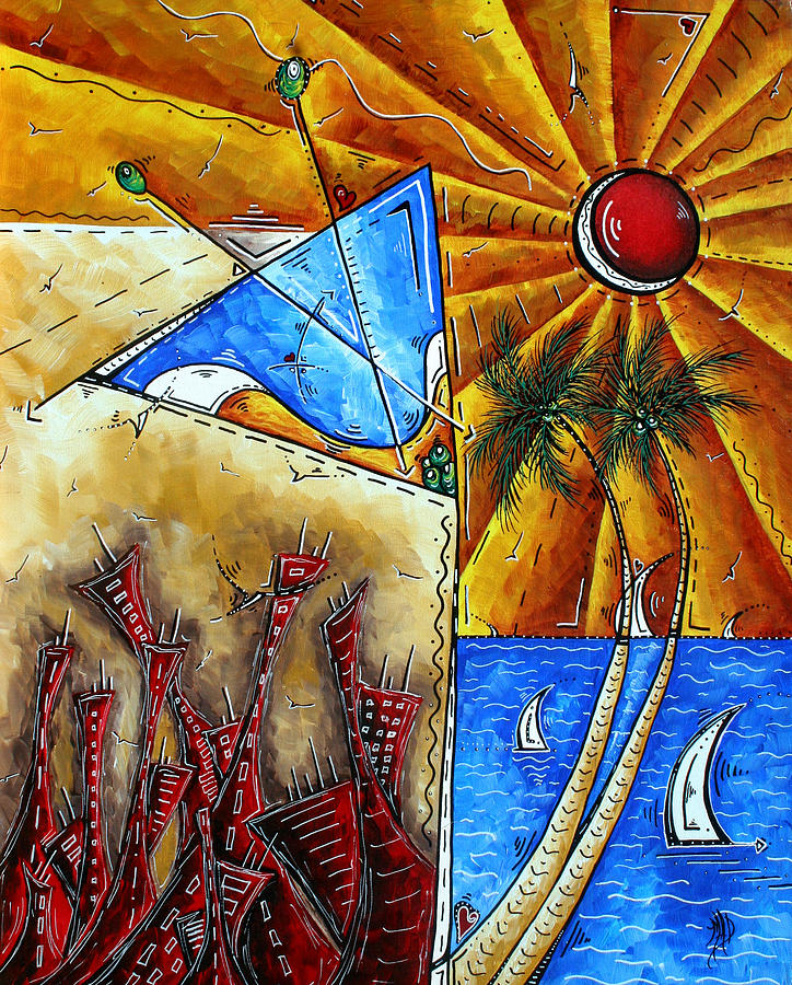 Oversized Painting - Contemporary Coastal Nautical Tropical Martin Art Original Sailboat Painting Ocean View By Madart by Megan Duncanson