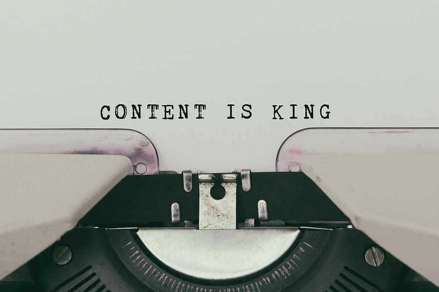Content is King Text Typed on Vintage Typewriter Photograph by Nora Carol Photography
