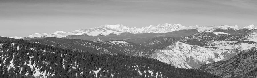 Continental Divide Rocky Mountain Snowy Peaks Panorama Bw Pt1 Photograph