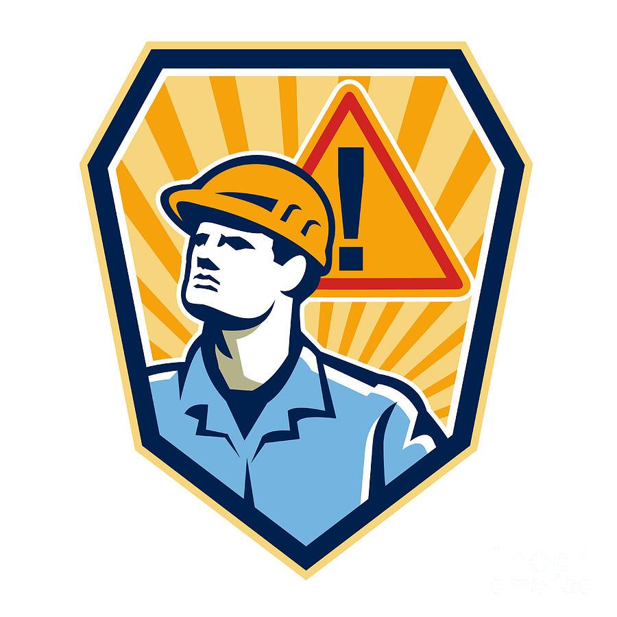 Contractor Digital Art - Contractor Construction Worker Caution Sign Retro by Aloysius Patrimonio