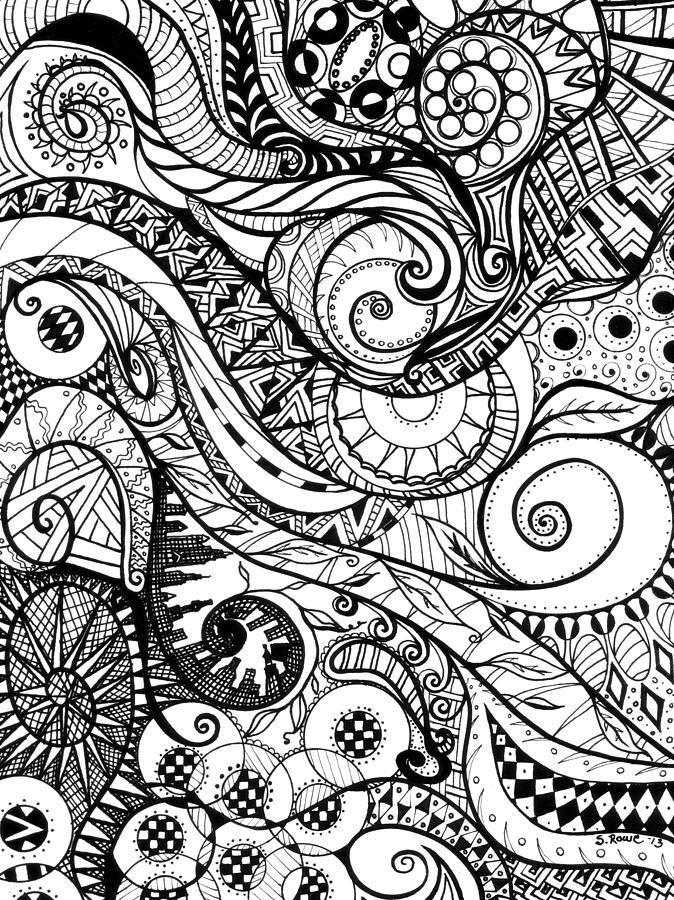 Spirals Drawing - Controlled Chaos by Shawna Rowe