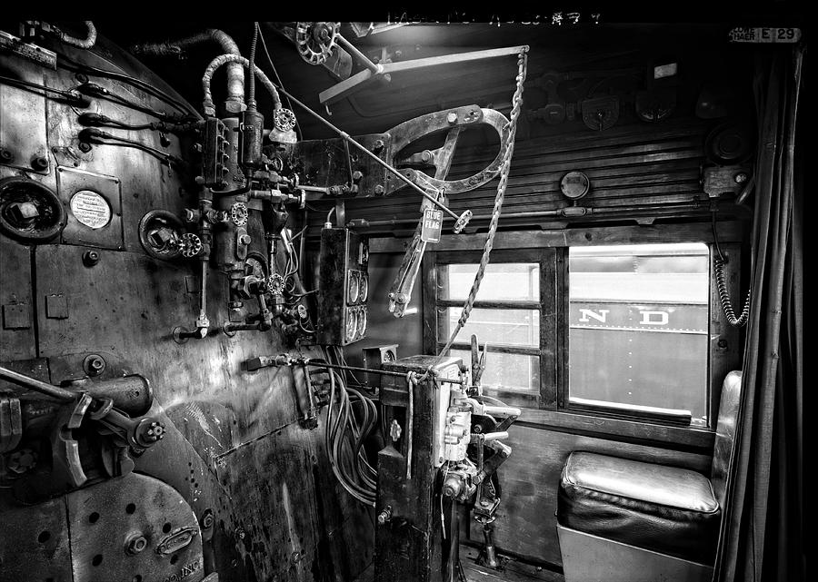 Locomotive Photograph - Controls Of Steam Locomotive No. 611 C. 1950 by Daniel Hagerman