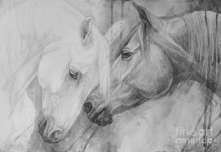 Horse Painting - Conversation II by Silvana Gabudean Dobre
