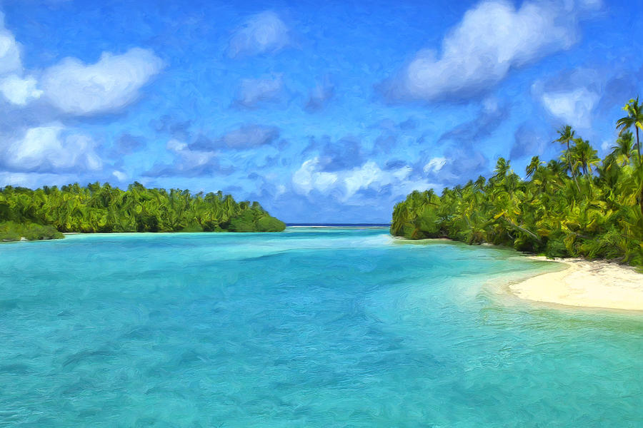 Cook Islands Painting - Cook Islands Lagoon by Dominic Piperata