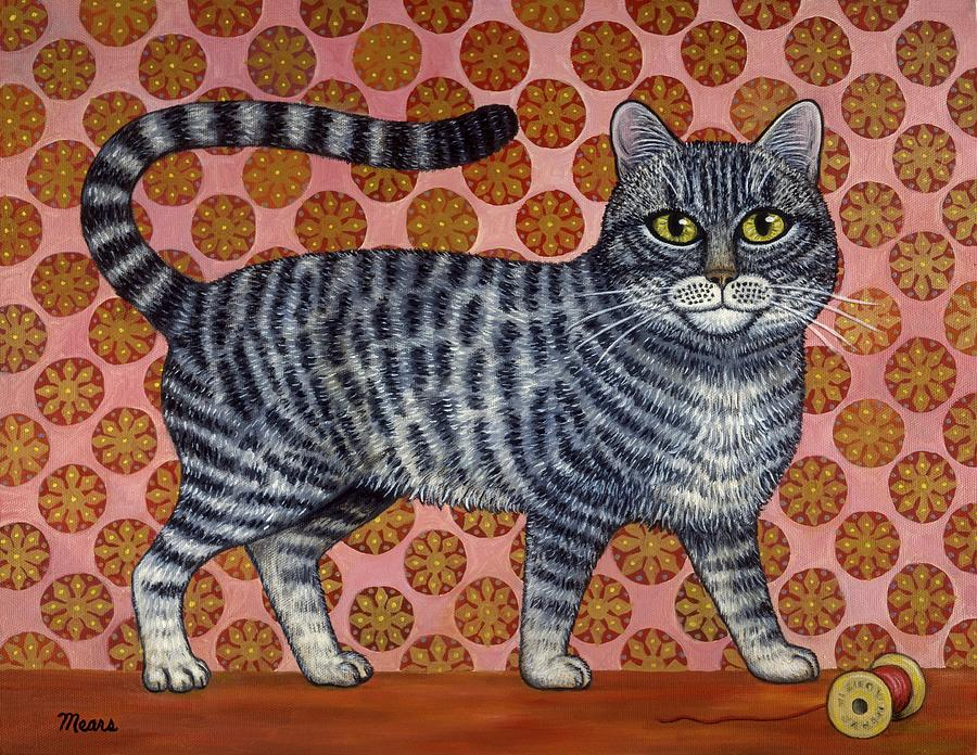 Anthropomorphic Cat Painting - Cookie Cat by Linda Mears