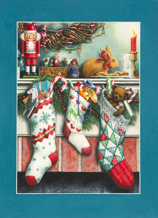 Christmas Stockings Painting - Cookies For Santa by Lynn Bywaters