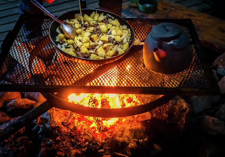Horizontal Photograph - Cooking Meat And Potatoes by Panoramic Images