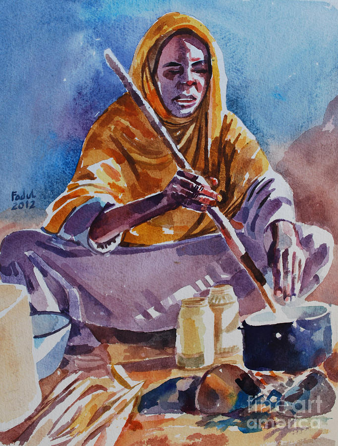 Cooking Morning Painting - Cooking Morning by Mohamed Fadul