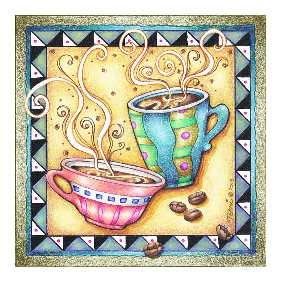 Coffee Drawing - Cool Beans by Pop Art Diva