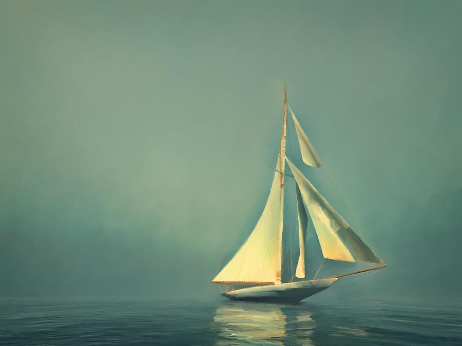 Sailboat Digital Art - Cool Blue Sea by Lonnie Christopher