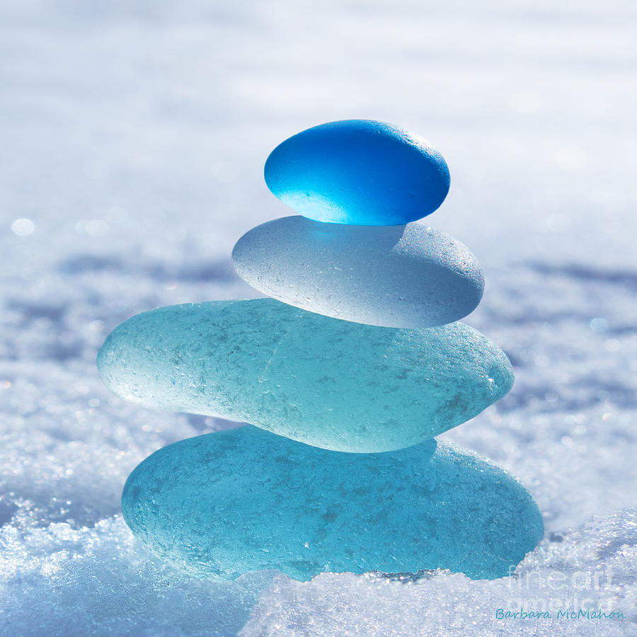 Seaglass Photograph - Cool Blues by Barbara McMahon