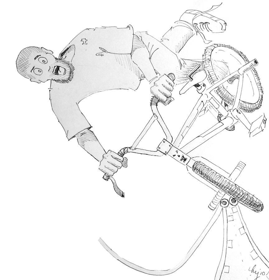 Bmx Drawing - Cool Bmx Drawing by Mike Jory