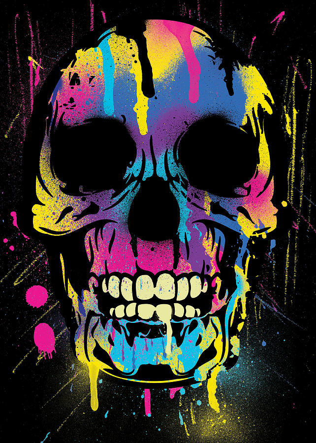 cool colorful skull with paint splatters and drips digital