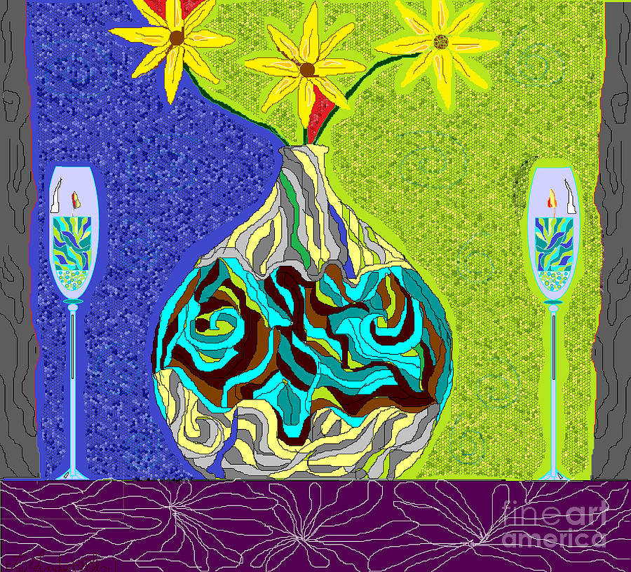 Wine Glasses Digital Art - Cool Decor by Lewanda Laboy
