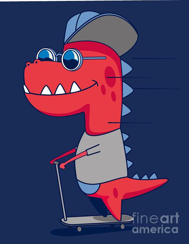 Play Digital Art - Cool Dinosaur Character Design by Braingraph