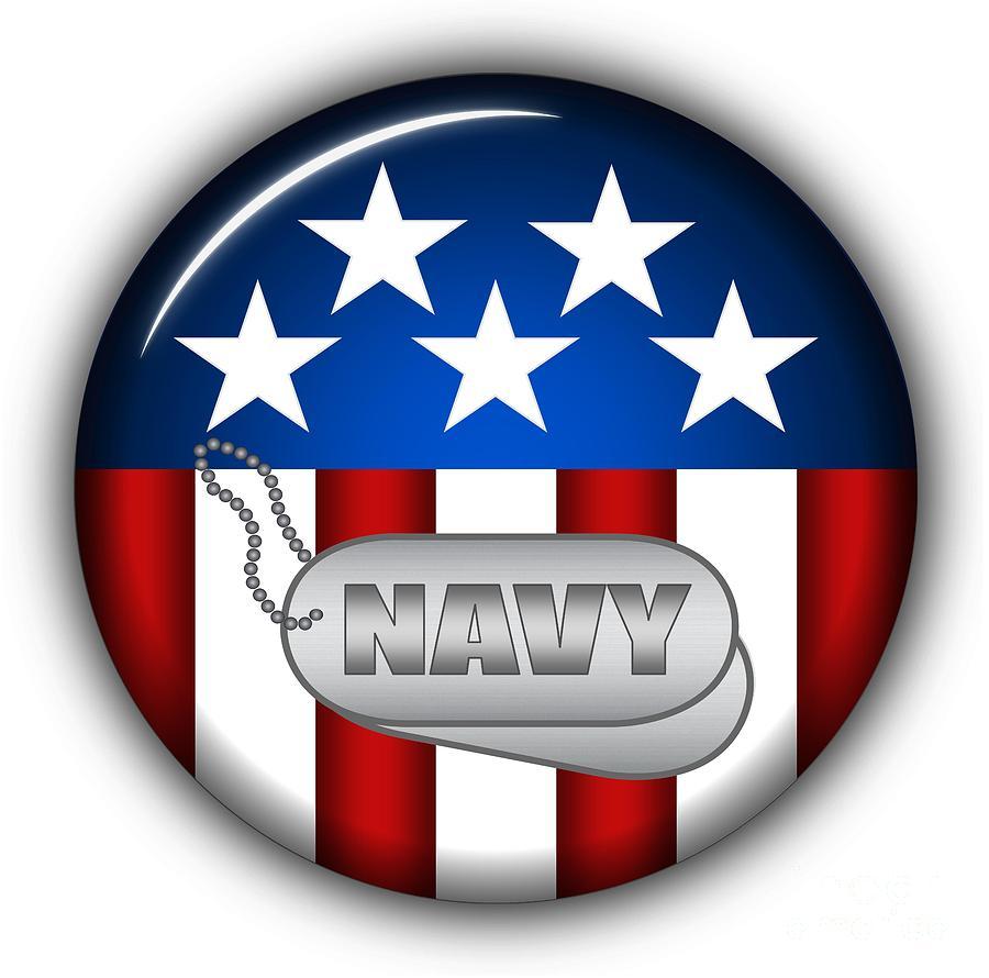 Navy Digital Art - Cool Navy Insignia by Pamela Johnson