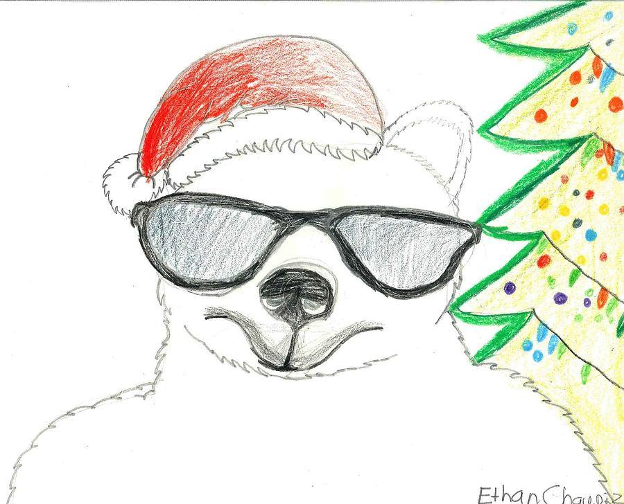 Polar Bear Drawing - Cool Christmas Polar Bear  by Ethan Chaupiz