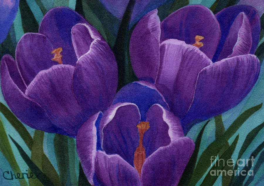 Purple Flower Painting - Cool Purple Crocus by Vikki Wicks
