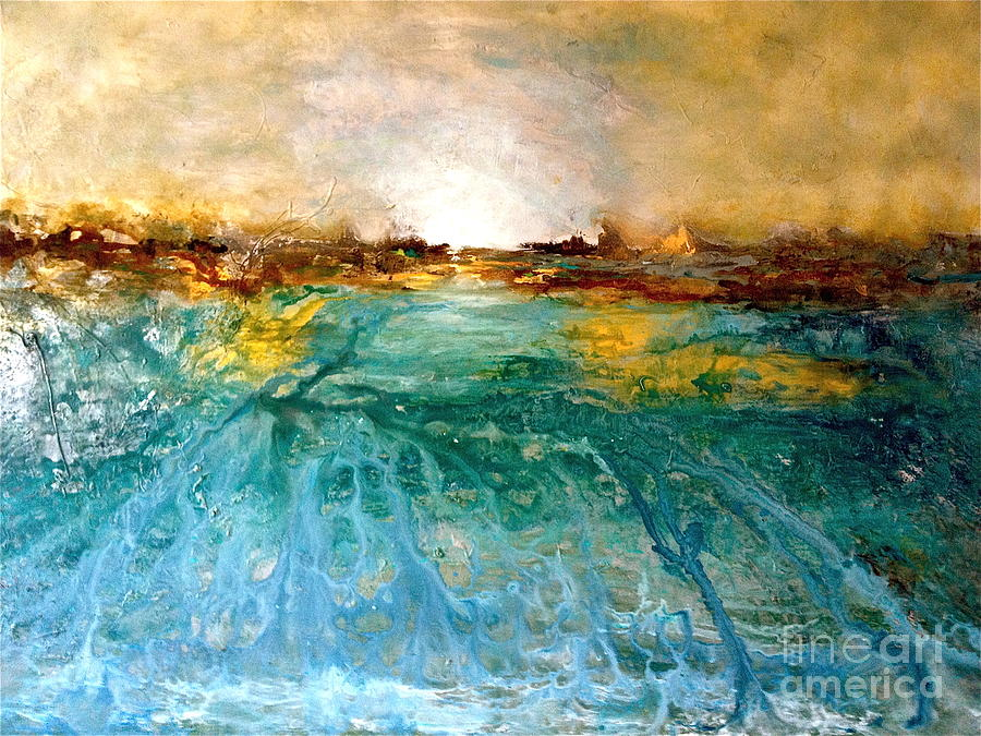 Sunset Painting - Cool Water by Michelle Dommer