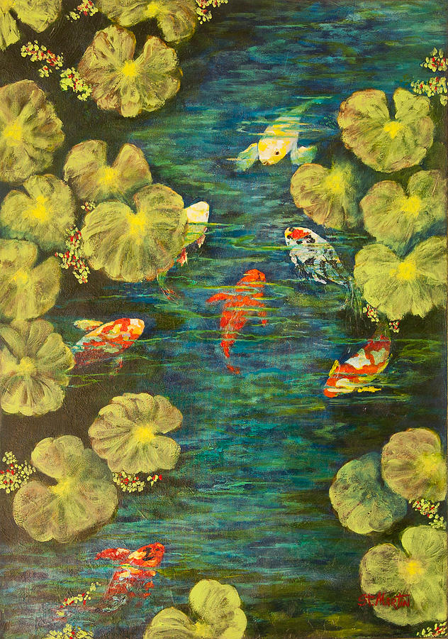 Koi Painting - Cool Water Sanctuary by Annie St Martin