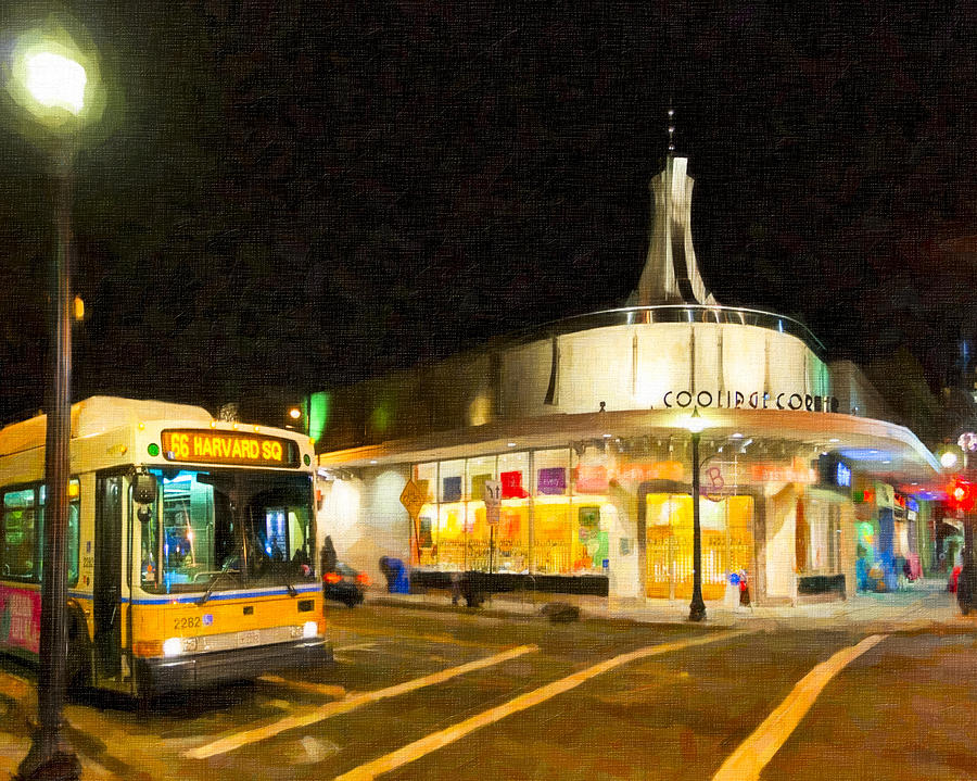 Coolidge Corner Photograph - Coolidge Corner In Brookline At Night by Mark E Tisdale