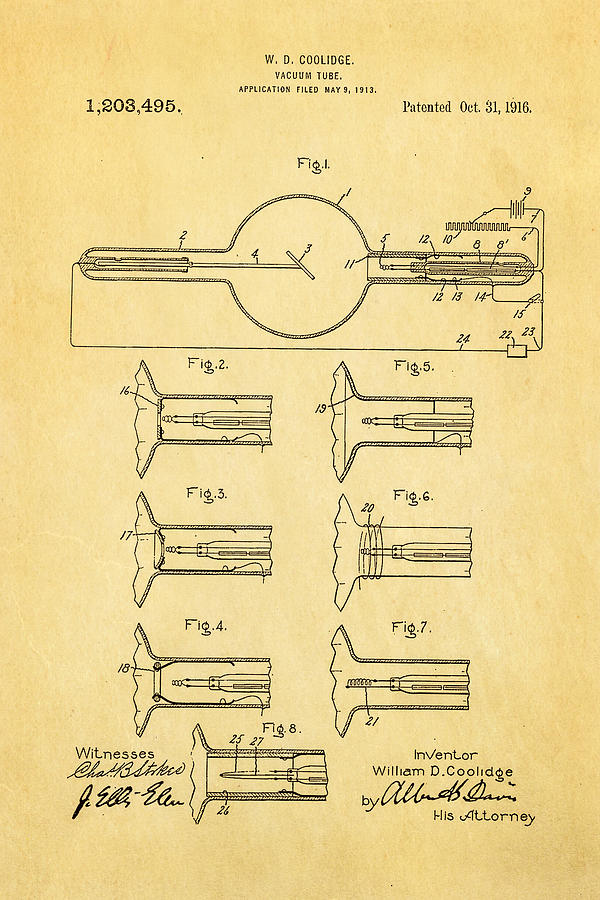 Doctor Photograph - Coolidge X-ray Tube Patent Art 1913 by Ian Monk
