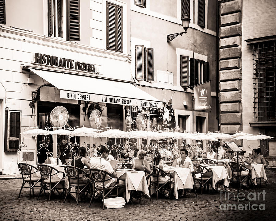 Ristorante Photograph - Cooling Off In Sepia by Christina Klausen