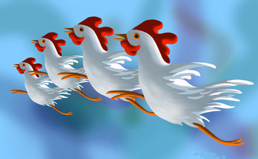 Chickens Digital Art - Coop Troupe  by Tom Dickson