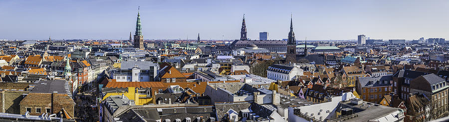 Copenhagen Spires And Rooftops Panorama Over Central Cityscape Denmark Photograph by fotoVoyager