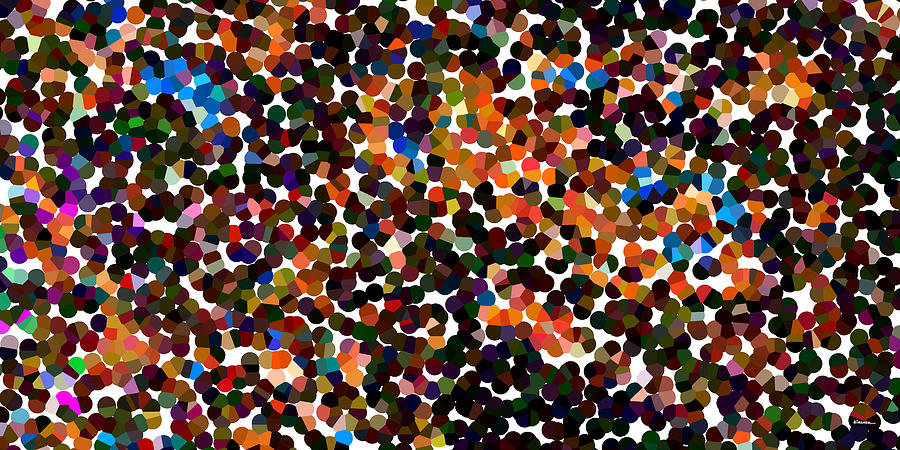 Abstract Digital Art - Copper And Confetti Pixels by James Kramer