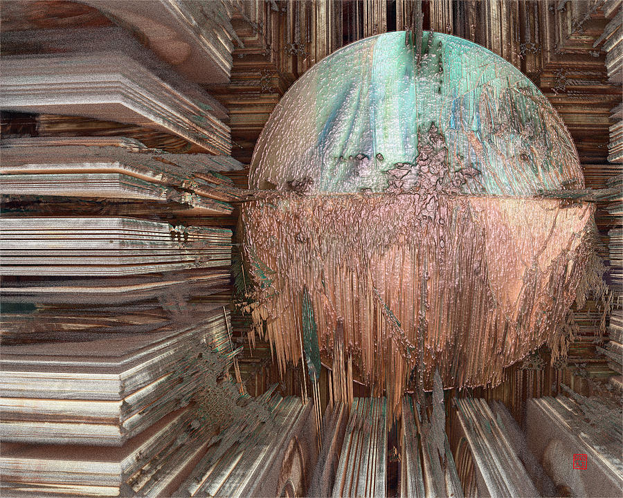 Abstract Digital Art - Copper Ball by David Jenkins