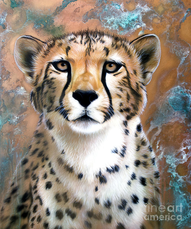 Copper Flash Cheetah Painting By Sandi Baker