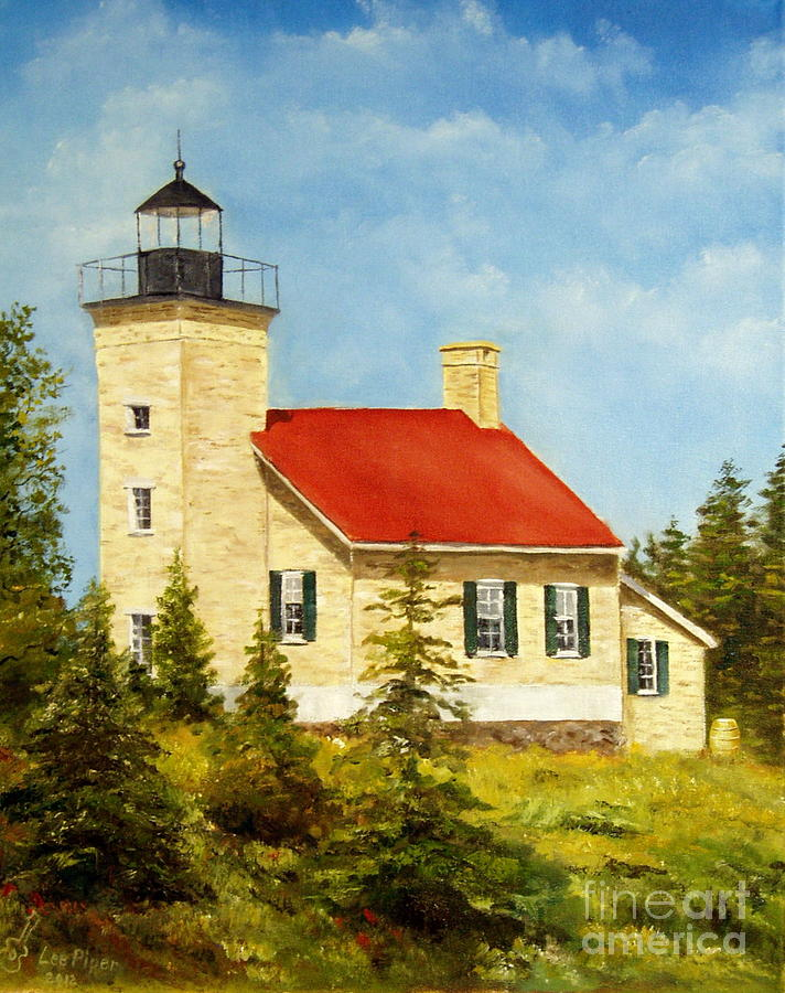 Copper Harbor Lighthouse Painting - Copper Harbor Lighthouse by Lee Piper