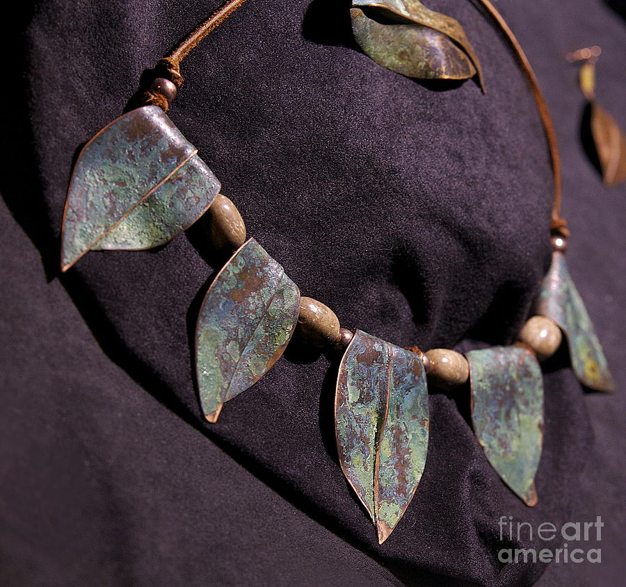 Copper Jewelry - Copper Leaf Necklace by Jeff  Williams