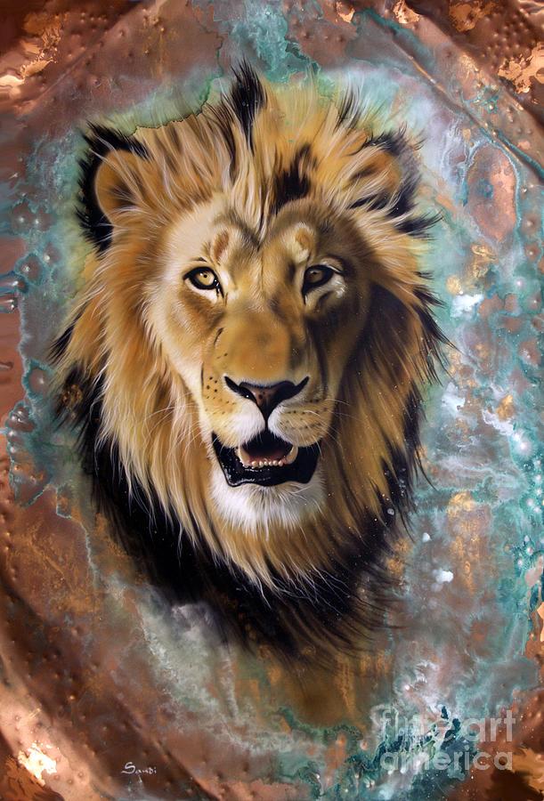 Copper Painting - Copper Majesty - Lion by Sandi Baker