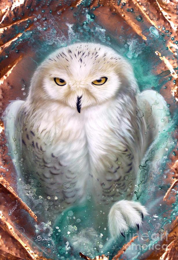 Copper Painting - Copper Snowy Owl by Sandi Baker