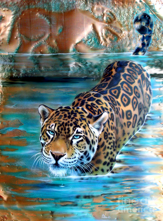 Copper Painting - Copper - Temple of the Jaguar by Sandi Baker