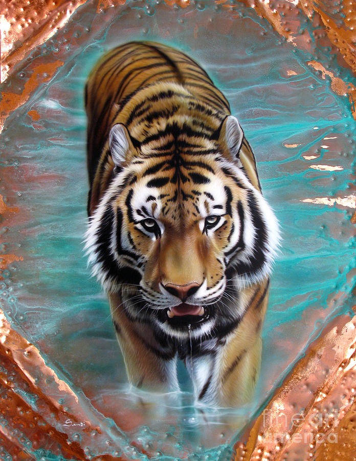 Copper Painting - Copper Tiger 3 by Sandi Baker