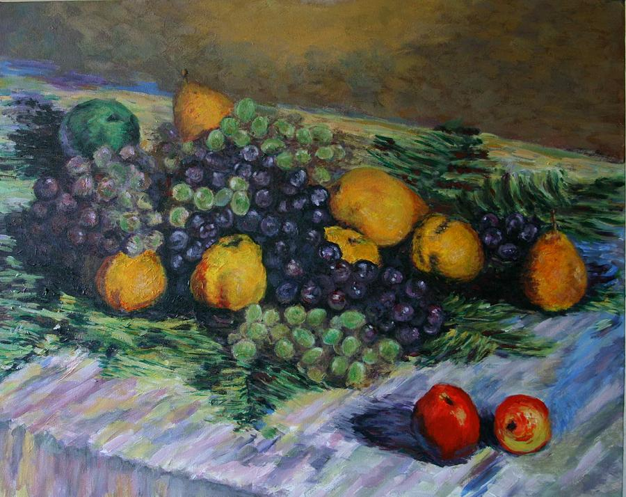 Copy Of Monet S Still Life With Grapes And Pears Painting