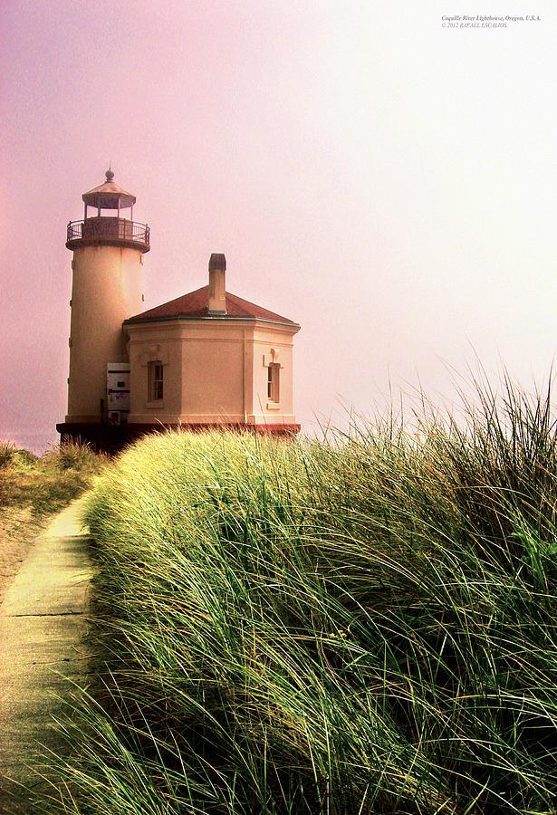 Bandon Photograph - Coquille River Lighthouse Oregon by Rafael Escalios