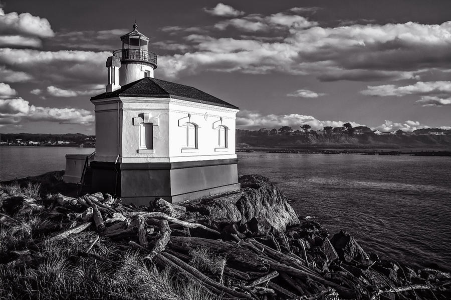 Coquille Photograph - Coquille River Lighthouse Upriver Bw by Joe Hudspeth