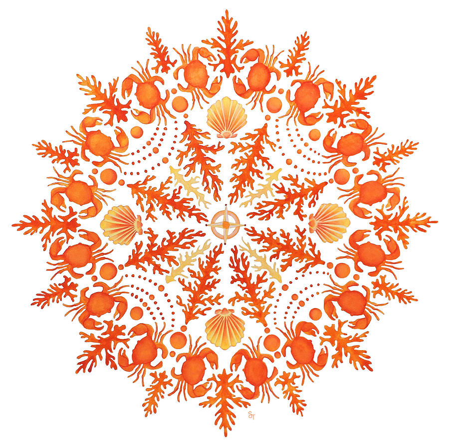 Waves Painting - Coral Crab Mandala by Stephanie Troxell