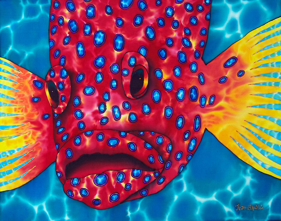 Coral Grouper Painting - Coral Grouper by Daniel Jean-Baptiste