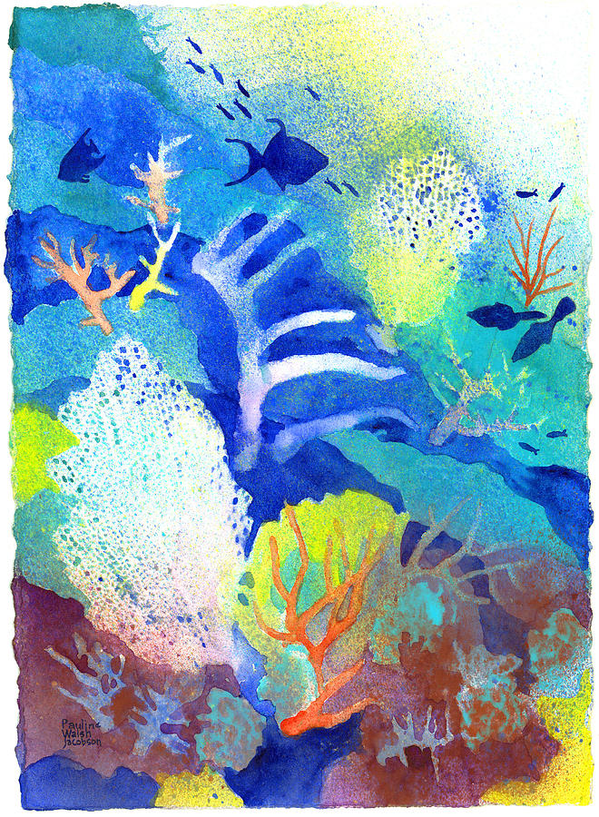 Coral Reefs Painting - Coral Reef Dreams 3 by Pauline Walsh Jacobson