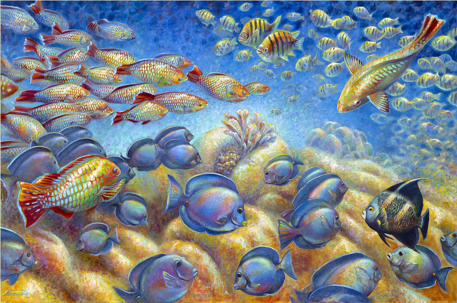 Coral Reef Life Painting by Nancy Tilles