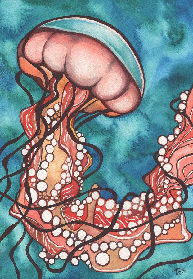 Jellyfish Painting - Coral Sea Nettle Jellyfish by Tamara Phillips
