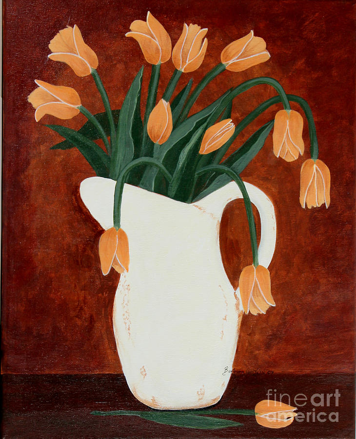 Barbara Griffin Painting - Coral Tulips In A Milk Pitcher by Barbara Griffin