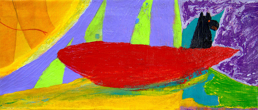 Red Canoe Painting - Corbetts Red Canoe by  Tom Kramer